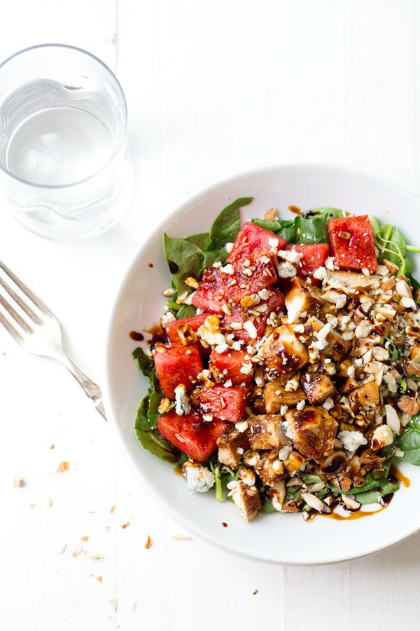 Balsamic Watermelon Chicken Salad - blue cheese, watermelon, almonds, spinach, chicken, and a balsamic reduction. Like summer on a plate! 30...