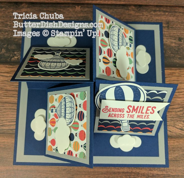 Sending Smiles, a 4 Easel Card - ButterDish Designs, Stampin' Up!, Pals Blog Hop