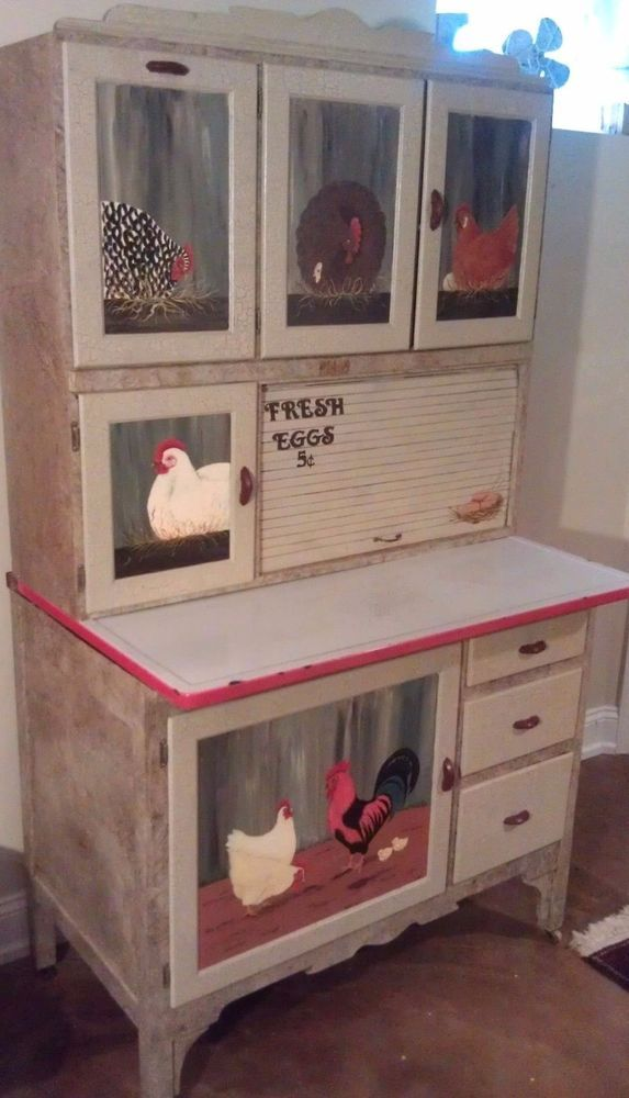 Vintage Hoosier Kitchen Cabinet Enamel Top Flour Sifter Chicken Art Marsh Traditional Marsh