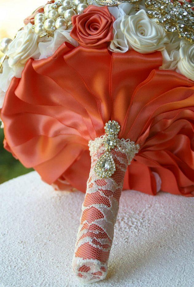Coral Peach Gold Wedding Brooch Bouquet