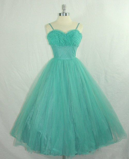 tons of turquoise tulle…  vintage 1950s dress
