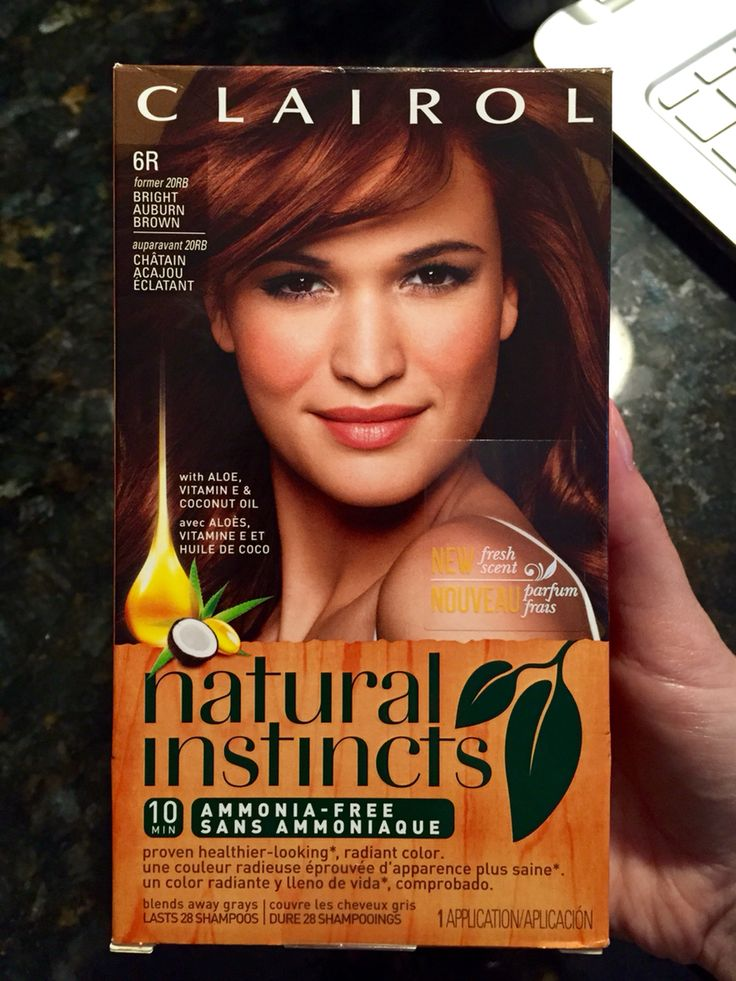 "Clairol, Natural Instincts, ""Bright Auburn Brown"""