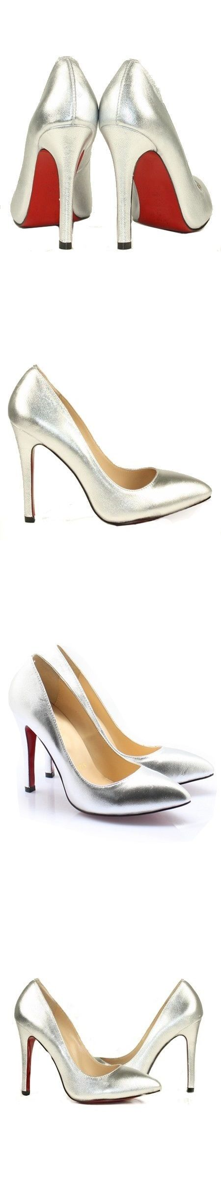 Wedding Shoes And Bridal Shoes: Stilettos Pumps Womens High Heels Silver Pointed Toe Dress Ladies Shoes Size 7 BUY IT NOW ONLY: $34.95