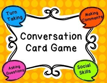 Conversation Card Game is a product to encourage students to improve their social skills through structured conversation. Students take turns making comments, asking questions, and changing topics throughout the game. A great way to encourage maintaining conversation by asking questions and making comments.