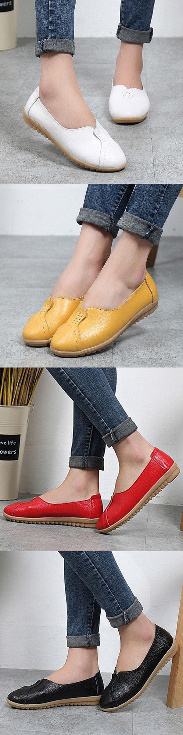 US$15.97  Pure Color Leather Soft Comfortable Breathable Slip On Round Toe Flat Shoes