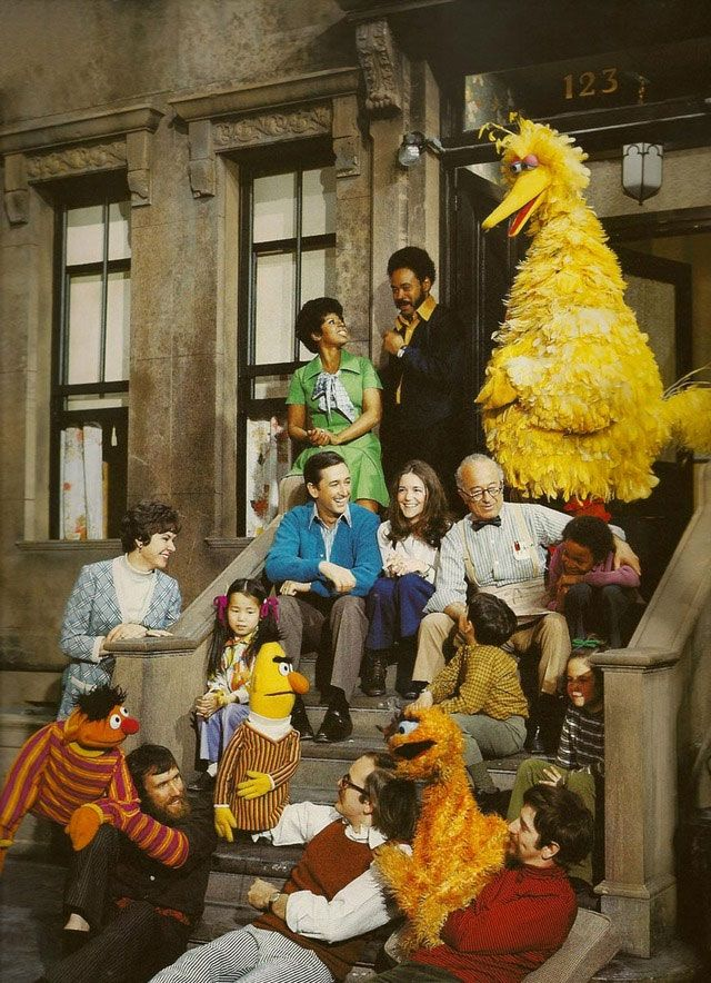 The original Sesame Street cast. (Oscar the Grouch is orange!)