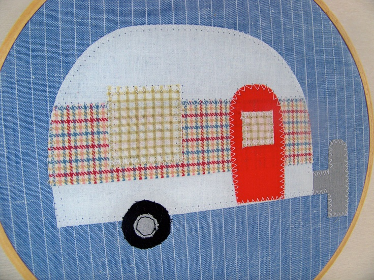 "Embroidery Hoop Art Home Decor Vintage Travel Trailer 8"" hoop"
