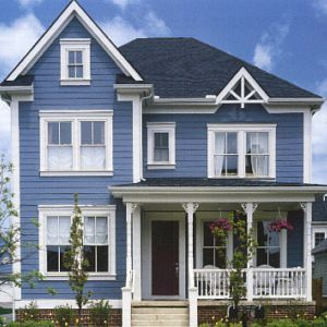 Blue house the home pinterest - Exterior blue paint set ...