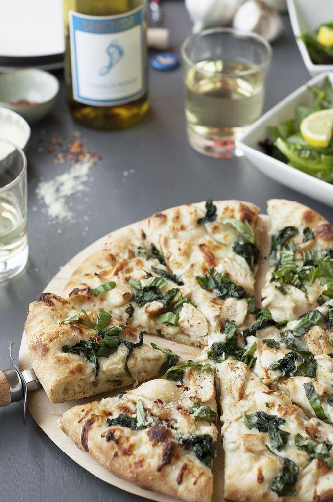 Spinach, Garlic and Chicken Chardonnay White Pizza