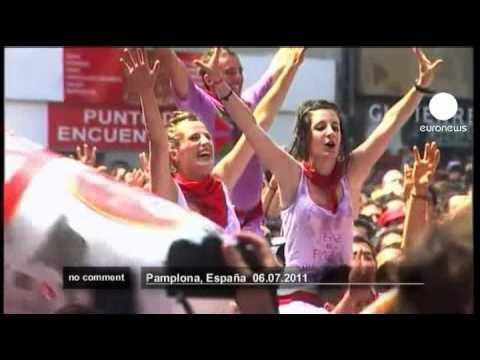 Thousands of revellers welcomed the kick off of Spain's most famous fiesta, the San Fermín, with the launch of a firework rocket that marks the beginning of the 9-day bull run in Pamplona…….