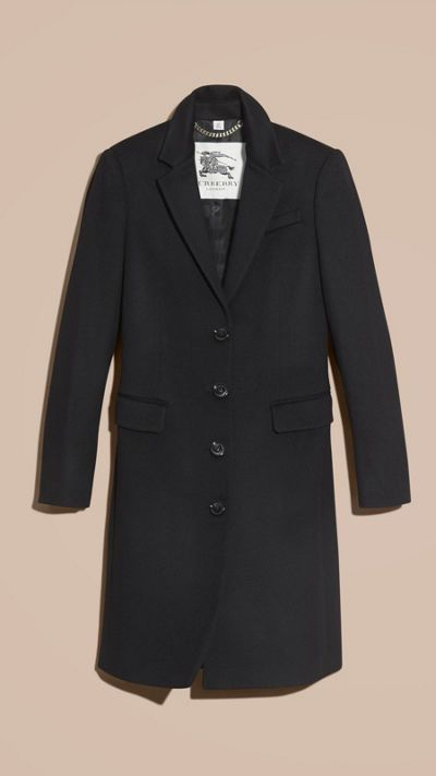 Black Tailored Wool Cashmere Coat 4