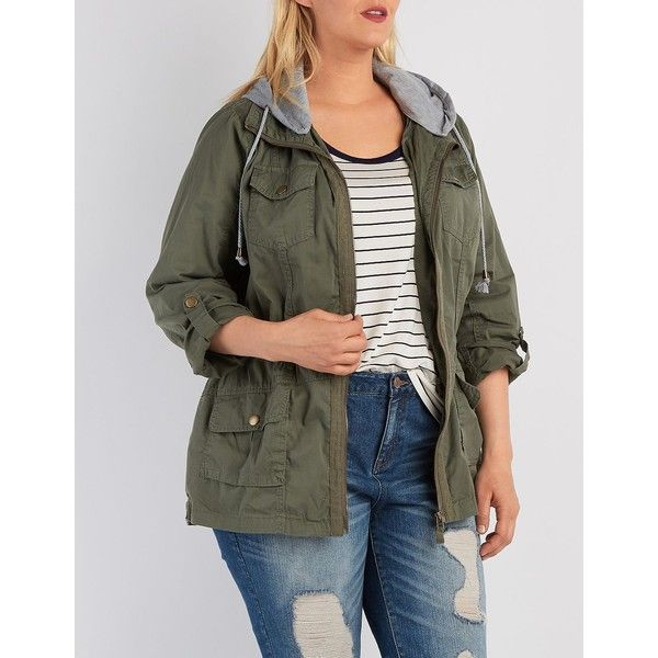 Charlotte Russe Removable Hood Anorak Jacket ($47) ❤ liked on Polyvore featuring plus size women's fashion, plus size clothing, plus size outerwear, plus size jackets, olive, womens plus size jackets, olive green anorak jacket, olive anorak, anorak coat and twill jacket