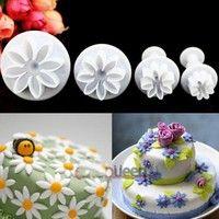 Wish | SuperDeals 4pcs Daisy Flower Fondant Cake Cutter Decorating Baking Tools Sugarcraft Mold HI
