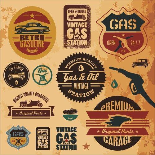 Different Car Service Labels vector 03