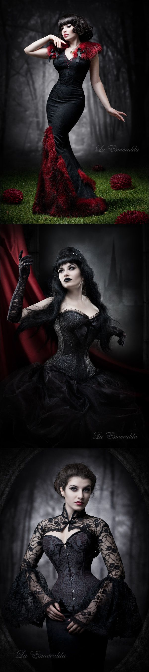 Gothic / Victorian photo shoots --- That dress in the top photo is just soooo gorgeous  | More sexy goth? Yes please! http://www.pinterest.com/thevioletvixen/goth-love/