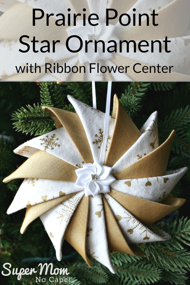 This beautiful variation of the Prairie Point Star Ornament with ribbon flower center would be a lovely addition to your holiday decorations. They are awesome gifts too! Link included to the complete step-by-step tutorial. #christmas #ornament #prairiepoint #DIYgiftidea #handmade #tutorial via @susanflemming