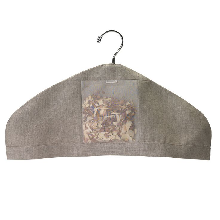 Protect delicate clothes such as knits, wool, and lace from the hanger. The porous linen and sheer silk window helps release the botanical aroma within. Fits any standard hanger. Made of crisp linen a