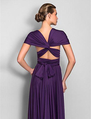 bruidsmeisje jurk vloer lengte jersey schede kolom converteerbare jurk - EUR € 95.45