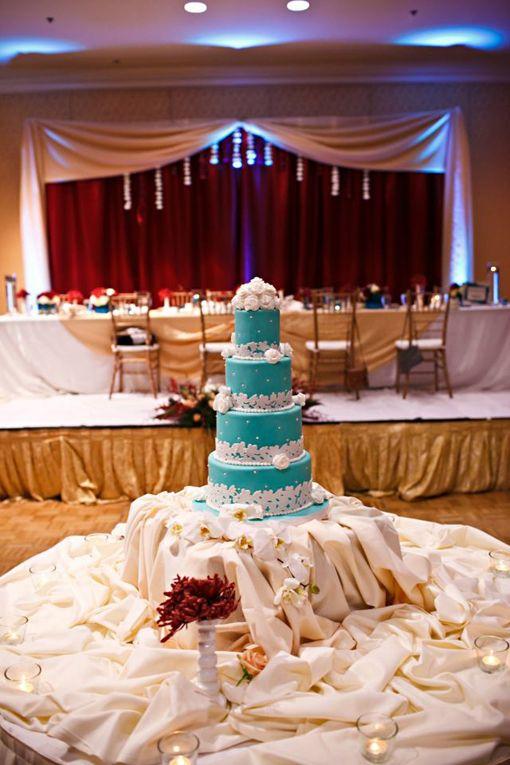 Tiffany Blue Indian wedding cake on indianweddingsite.com