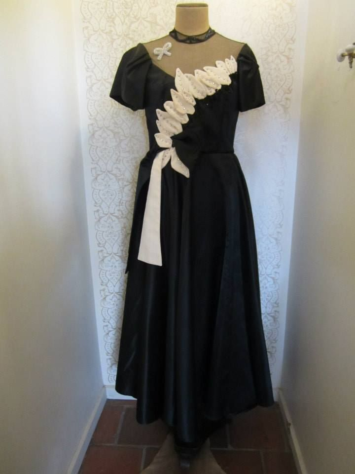 Black ball gown with cream embellishments