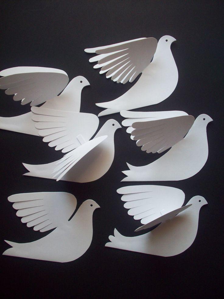 Paper Birds–Five Small White Paper Doves