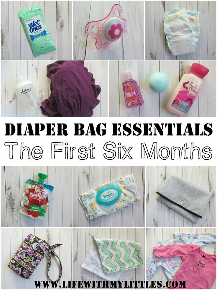 A complete list of diaper bag essentials for the first six months of baby's life. Great tips on what you actually need for 0-6 months!