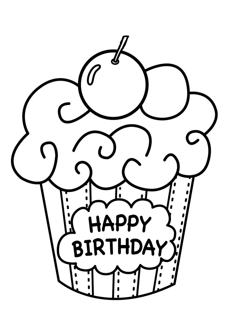 61 best birthday images on pinterest birthdays kids net for Birthday cupcake coloring page