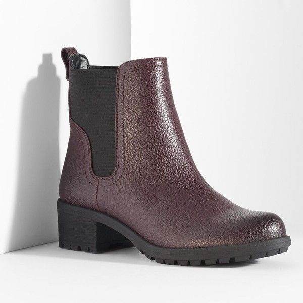 Simply Vera Vera Wang Women's Slip-On Chelsea Boots ($24) ❤ liked on Polyvore featuring shoes, boots, red, stretch boots, beatle boots, slip on boots, vegan boots and vegan chelsea boots