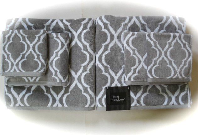 Hotel Vendome 6 Pc Bath Towel Set Gray Amp White Velour