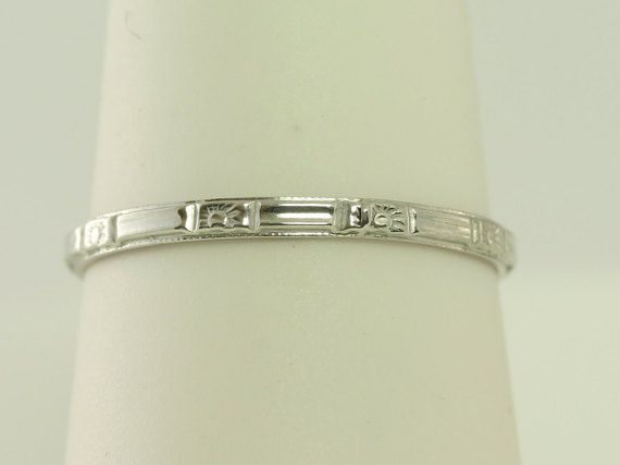 Super Buy Platinum Wedding Band Antique Art Deco by JewelryBargain