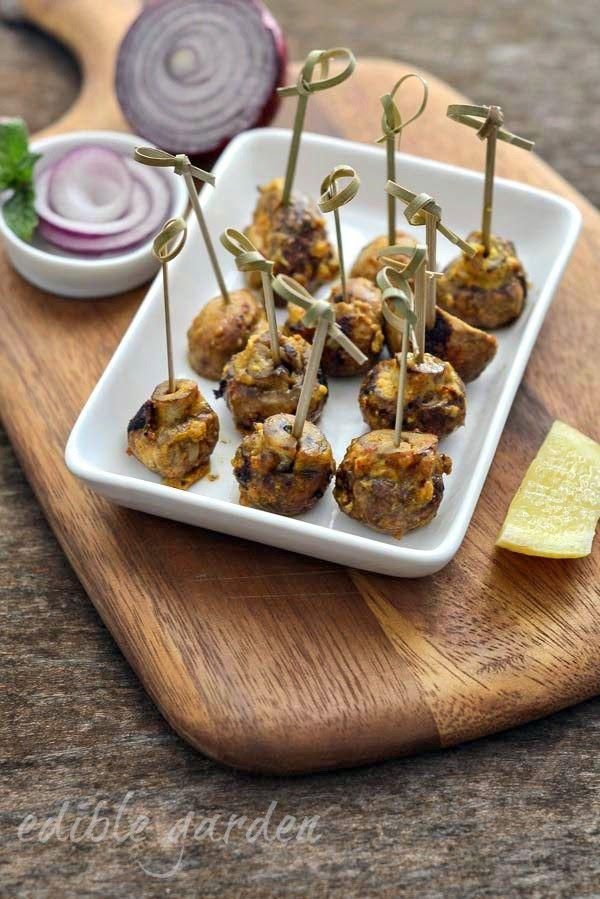 Mushroom Tikka Recipe - Grilled Mushroom Tikka, an Easy Appetizer