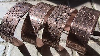 How to make cooper cuff bracelet, the complete process, etching, etc.