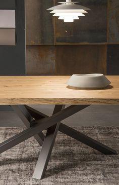 Mesa de comedor rectangular de acero inoxidable y madera SHANGAI   Mesa de acero inoxidable y madera - RIFLESSI