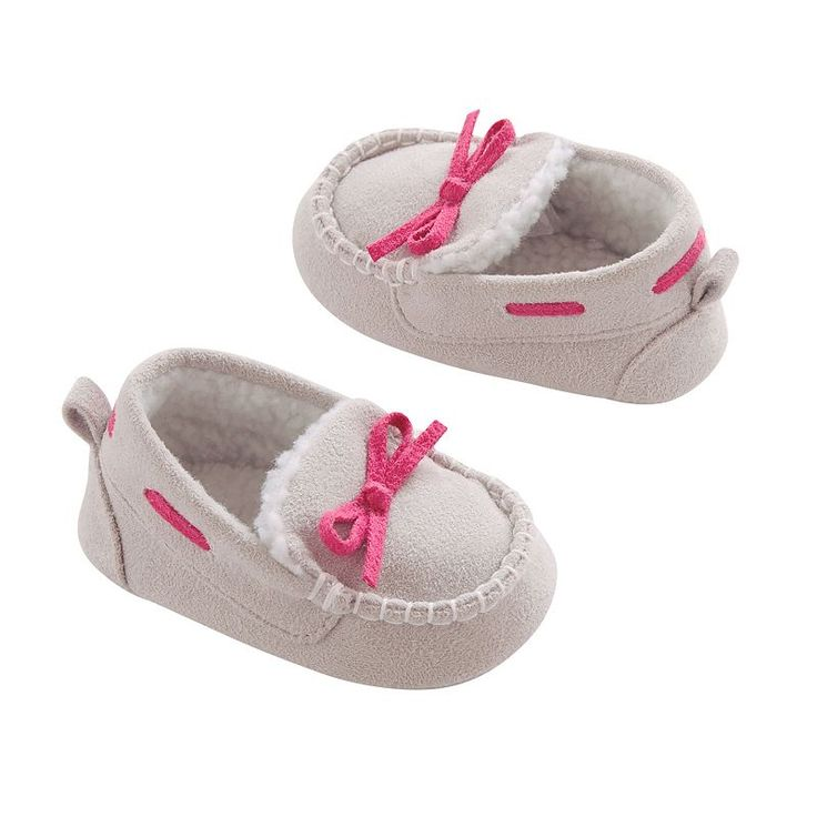 Baby Girl Carter's Sherpa-Lined Moccasin Loafer Crib Shoes, Size: