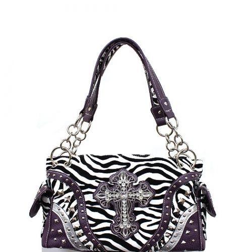 Purple Zebra Rhinestone Cross Gun Concealed Shoulder Bag Purse Beautiful Detail | eBay