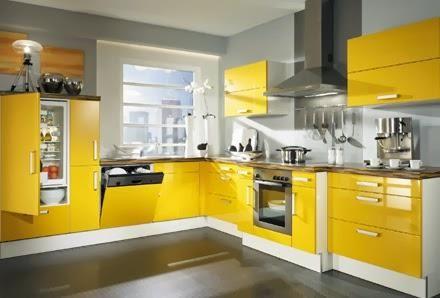 cocina amarilla con gris