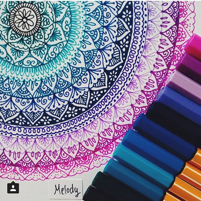 Create a colorful Mandala using STABILO Point88 Thanks @art.melody for sharing this great work  #stabilophcreate