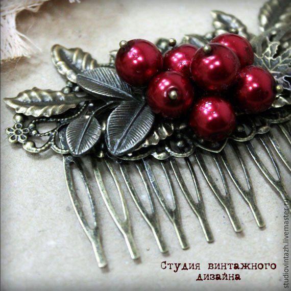 """Купить Гребень """"Алая ягода"""" - ярко-красный, бронза античная, винтаж, винтажный стиль, гребень"""