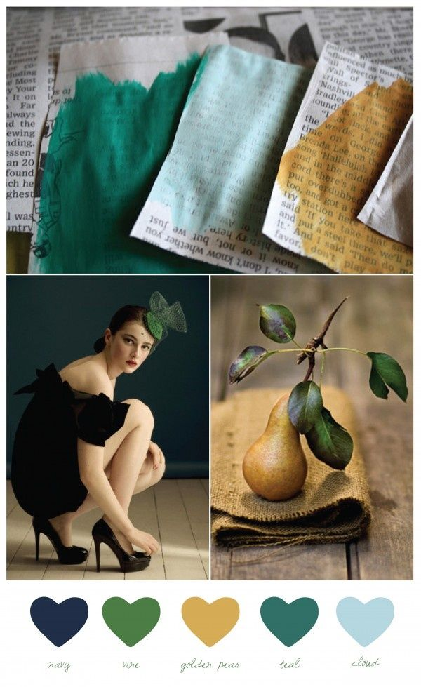 Emerald, ink, and mustard for living/dining room color palette