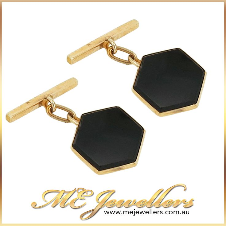 Black Onyx & Rose Gold Art Deco Cufflinks - ME Jewellers Classic vintage Art Deco cufflinks, featuring octagonally shaped black onyx set in 9ct  rose gold & finished with classic chain & dumbbell fittings. AU$345 Buy online or  visit our Melbourne jewellery store, we're open 7 days a week, for your convenience. www.mejewellers.com.au