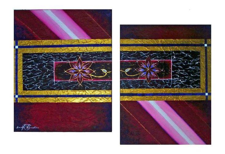 """""""Ligh+ flowers"""" acrilico e olio su tele rivestite di carta (2 da 35X50 cm)"""