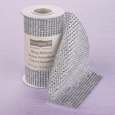 """Michaels.com Wedding Department: Celebrate It™ Bling Ribbon Wrap Add a bit of sparkle and shine to your wedding day with Celebrate It™ Bling Ribbon Wrap! Wrap can be cut to size for a variety of DIY projects. Comes in various colors in 6"""" x 3 yards."""