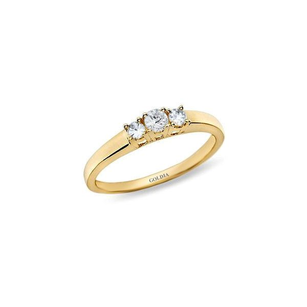 1/4 ct. Round Cut Diamond Yellow Gold Three-stone Engagement Ring ❤ liked on Polyvore featuring jewelry, rings, gold engagement rings, 18k gold ring, diamond rings, three stone engagement ring and round cut engagement rings