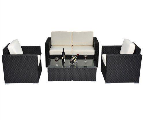 Outsunny 4 pc Outdoor Rattan Wicker Sofa Sectional Patio Furniture Set - [HOME & GARDEN]