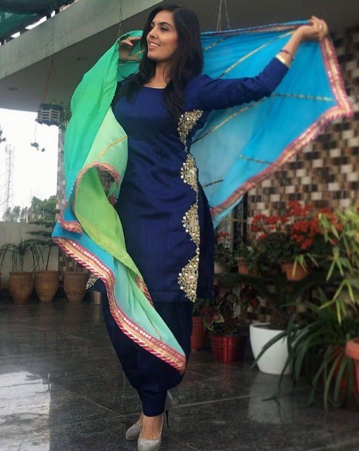 bdb205123b Pinterest: @pawank90 Find out about the best Salwar suit also Elegant  ladies Punjabi Suit