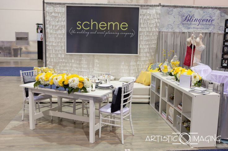 yellow and grey bridal show booth, Las Vegas wedding planner