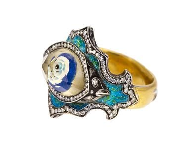 Sevan Bicakci - Evil Eye Carved Lemon Quartz Ring in Rings Stones at TWISTonline
