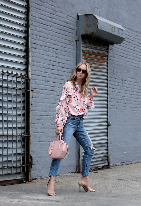 Spring Tops for Under $100 - Brooklyn Blonde - Helena Glazer wearing ASOS Floral Top, Schutz sandals, Celine sunglasses