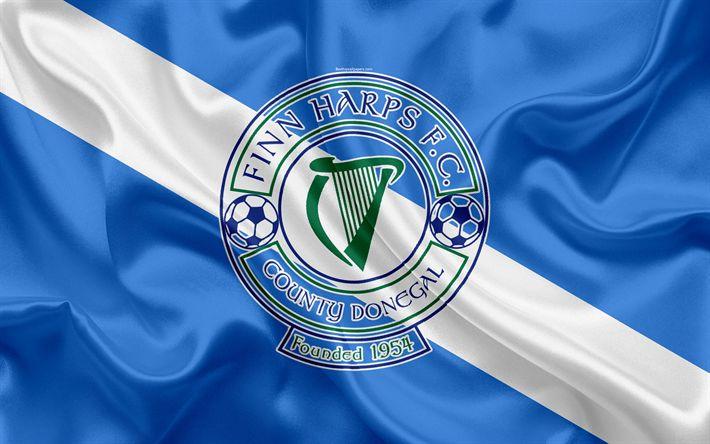Download wallpapers Finn Harps FC, 4K, Irish Football Club, logo, emblem, League of Ireland, Premier Division, football, Ballybofi, Ireland, silk flag, Irish Football Championship
