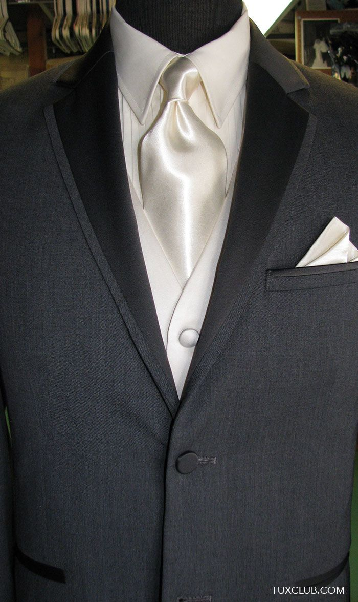 Charcoal Gray Tuxedo with Off White Woven Vest and  Cream Satin Dress Tie | Tux Shop | Tuxedo Rentals | Suit Rentals | The Gentlemen's Tux Club San Diego | Tuxedo and Suit Sales